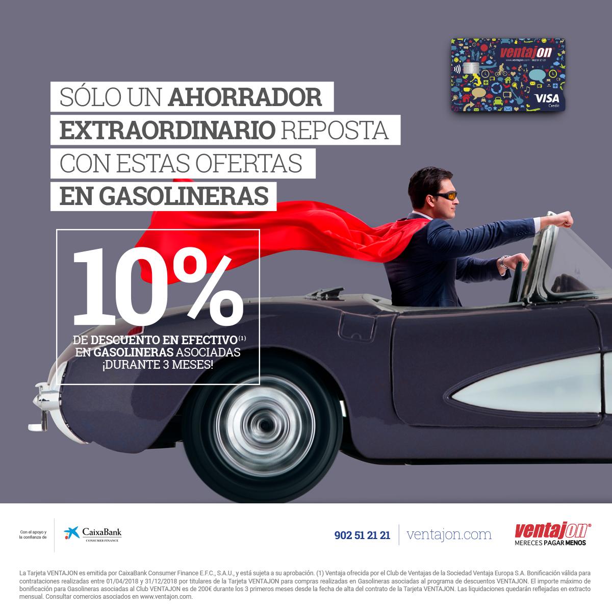 Ahorra un 10% en gasolina con la Tarjeta VENTAJON.